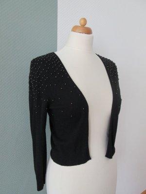 H&M kurze Strickjacke/Bolero mit Metallperlen bestickt schwarz Gr.S