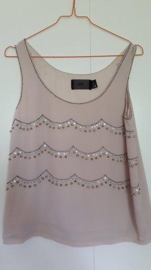 H&M kurzes Busentop mit Perlenstickerei 20ies Look rosa Gr. 34