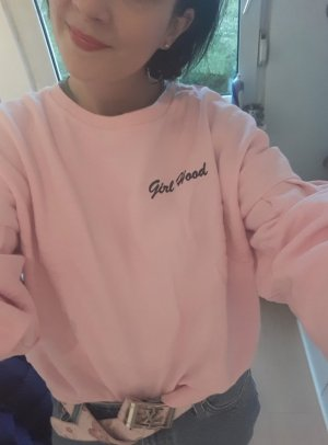 H&M Kurzes Sweatshirt Puffärmel rosa Girl Hood Statement Sweater Sweat pink L