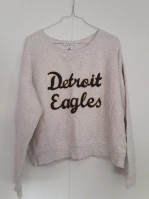 H&M kurzes Sweatshirt Sweat-Pullover Cropped beige mit Schriftzug Gr. M