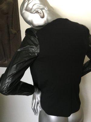 H&M Kurzjacke schwarz mit Kunstlederärmel Gr. 36
