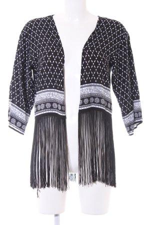 H&M Kurzjacke schwarz-weiß Blumenmuster Boho-Look