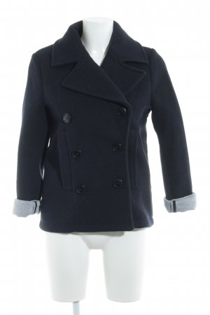 H&M Manteau court bleu foncé-gris clair moucheté style décontracté