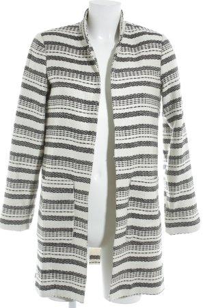 H&M Kurzmantel schwarz-weiß Streifenmuster Casual-Look