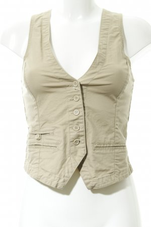 H&M L.O.G.G. Waistcoat camel-cream striped pattern business style