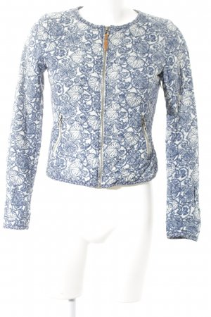 H&M L.O.G.G. Blusenjacke dunkelblau-wollweiß florales Muster Casual-Look