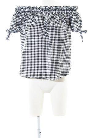 H&M L.O.G.G. Blusa alla Carmen bianco sporco-nero motivo a quadri stile casual