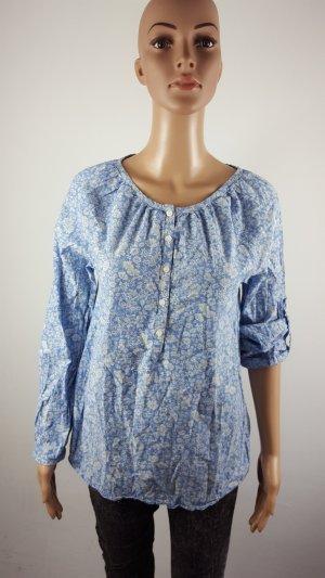 H&M L.O.G.G. Damen Tunika Bluse Hemd geblümt hellblau Größe 36