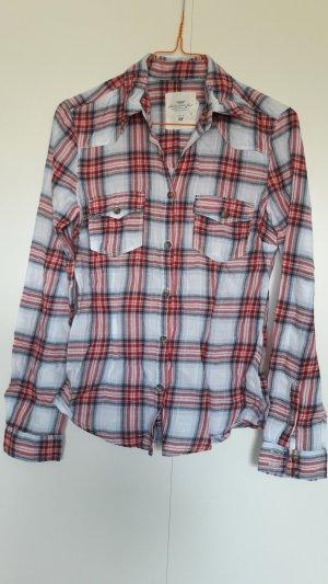 H&M L.O.G.G. kariertes Hemd weiß grau rot Holzfälleroptik Gr. 34