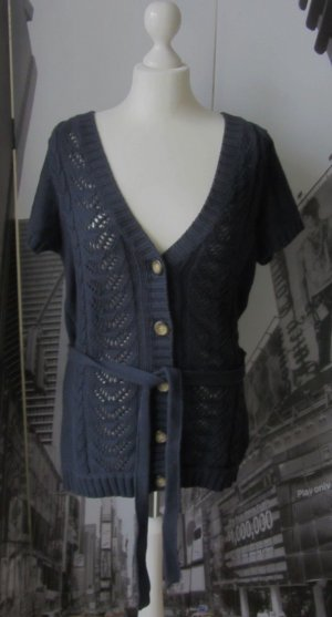 H&M Gebreid jack met korte mouwen donkerblauw Katoen