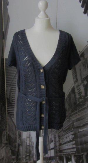 H&M L.O.G.G. Gebreid jack met korte mouwen donkerblauw Katoen