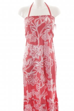 H&M L.O.G.G. Maxikleid hellrot-weiß florales Muster Hippie-Look