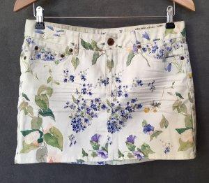 H&M L.O.G.G. | Minirock | Gr. 38 | Creme mit Blumenprint