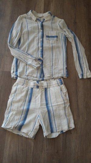 H&M L.O.G.G. Set Kombi Bluse Hemd Short Bermuda Streifen Sommer lässig