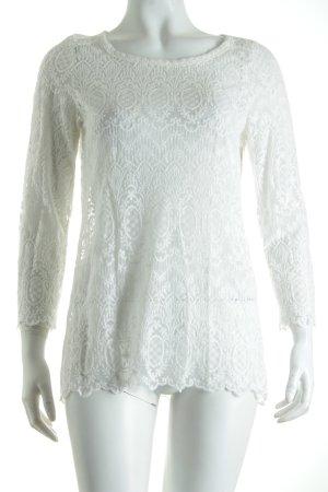 H&M L.O.G.G. Shirt weiß Ornamentenmuster Transparenz-Optik