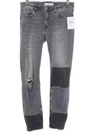 H&M L.O.G.G. Skinny Jeans schwarz Destroy-Optik
