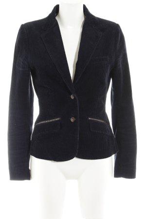 H&M L.O.G.G. Gebreide blazer donkerblauw-bruin Elleboog patches