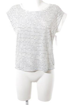 H&M L.O.G.G. T-Shirt weiß-dunkelgrau Streifenmuster Casual-Look
