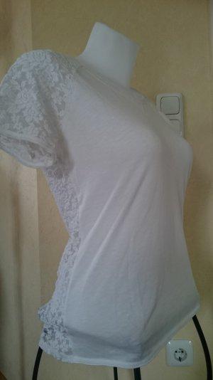 H&M L.o.g.g. T-Shirt Weiß mit Spitze Gr M