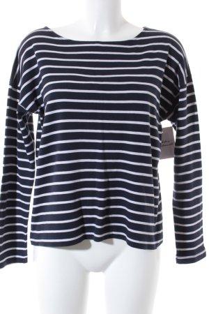 H&M L.O.G.G. Boatneck Shirt white-dark blue striped pattern Brit look