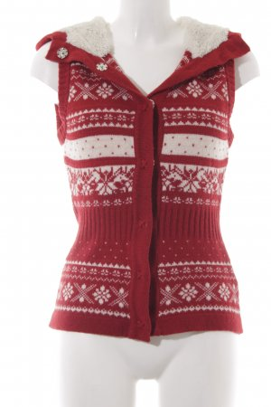 H&M L.O.G.G. Christmasjumper red-natural white abstract pattern fluffy