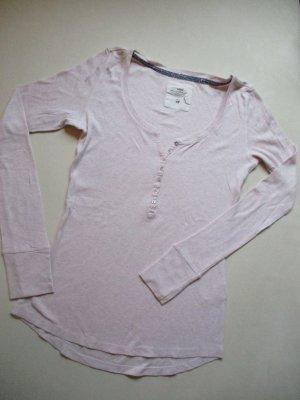 46ce7e32f7e9b3 H&M L.O.O.G Langarm Feinripp Shirt mit Knopfleiste Figurbetont zart Rosé