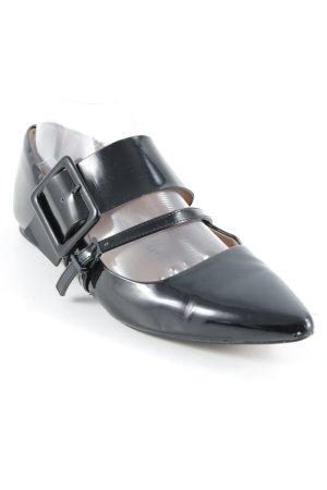 H&M Bailarinas de charol con tacón negro elegante