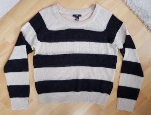 H & M Lässiger Pullover Strickpullover Blockstreifen beige-schwarz M