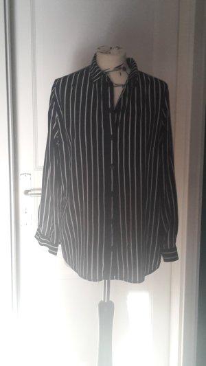 H&M Camisa de manga larga blanco puro-azul oscuro Viscosa