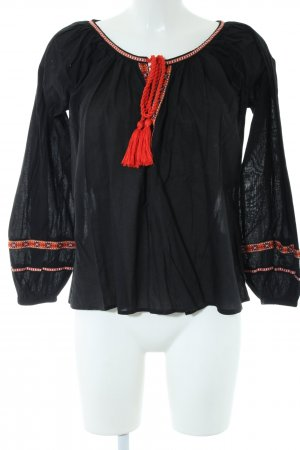 H&M Langarm-Bluse schwarz-rot Business-Look