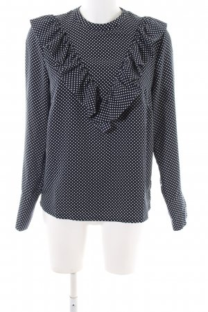 H&M Long Sleeve Blouse black-white spot pattern business style