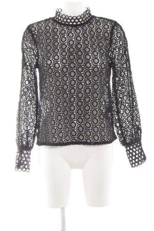H&M Blouse à manches longues noir motif graphique style transparent