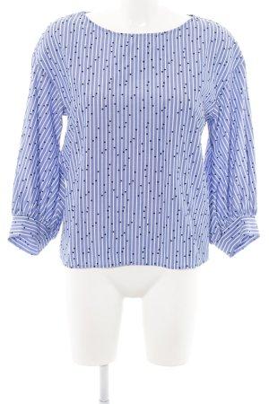 H&M Langarm-Bluse blau-weiß Punktemuster Casual-Look