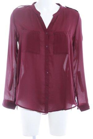H&M Langarm-Bluse bordeauxrot Business-Look