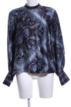 H&M Langarm-Bluse blau-wollweiß Allover-Druck Casual-Look