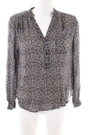 H&M Langarm-Bluse schwarz-creme Allover-Druck Casual-Look