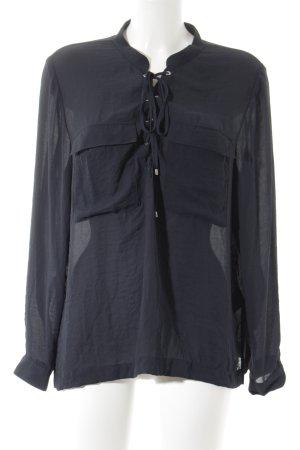 H&M Langarm-Bluse dunkelblau Elegant