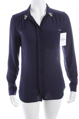 H&M Langarm-Bluse dunkelblau klassischer Stil