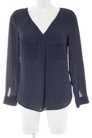 H&M Langarm-Bluse dunkelblau schlichter Stil