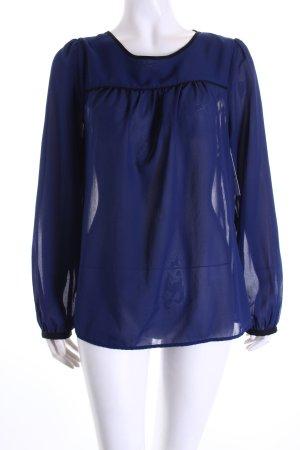 H&M Langarm-Bluse dunkelblau-schwarz schlichter Stil