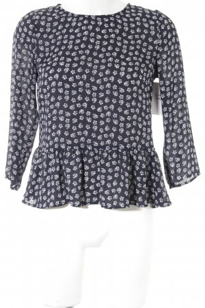 H&M Langarm-Bluse dunkelblau-weiß Blumenmuster Casual-Look