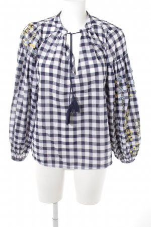 H&M Long Sleeve Blouse dark blue-white check pattern casual look