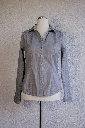 H&M Langarm Bluse gestreift weiß schwarz/dunkelblau Gr. 38