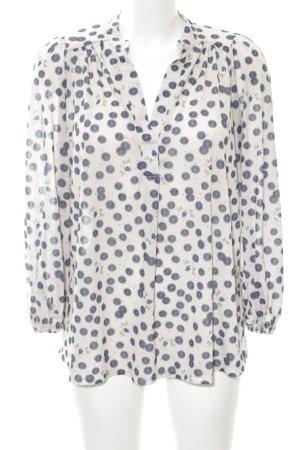 H&M Langarm-Bluse weiß-blau Punktemuster klassischer Stil