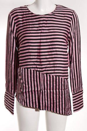 H&M Langarm-Bluse schwarz-rosa Streifenmuster Elegant