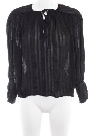 H&M Langarm-Bluse schwarz Streifenmuster Business-Look
