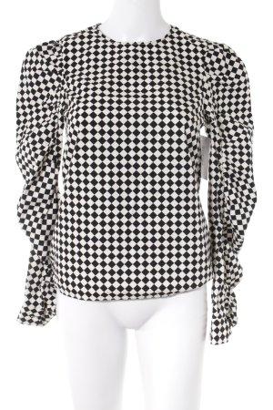 H&M Langarm-Bluse schwarz-weiß Karomuster extravaganter Stil
