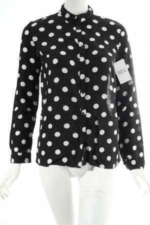 H&M Langarm-Bluse schwarz-weiß Punktemuster klassischer Stil