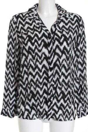 H&M Langarm-Bluse schwarz-weiß Zackenmuster Casual-Look