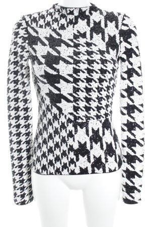 H&M Langarm-Bluse schwarz-wollweiß Hahnentrittmuster Glitzer-Optik